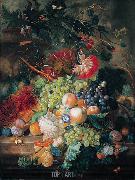Jan van Huysum | A Still Life of Fruit in a Basket With Flowers And Other Fruit, undated