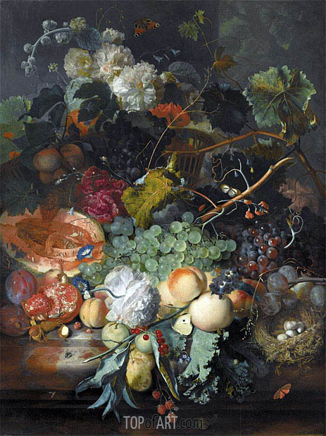 Jan van Huysum | Still Life of Fruit Upon a Marble Ledge, undated