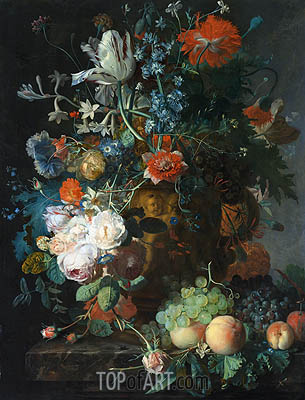 Still Life with Flowers and Fruit, undated | Jan van Huysum | Gemälde Reproduktion