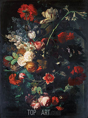 Vase with Flowers on a Socle, undated | Jan van Huysum| Painting Reproduction