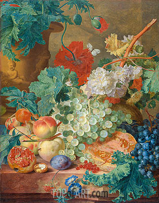 Jan van Huysum | Still Life with Flowers and Fruits, 1749