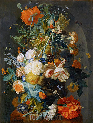 Vase of Flowers in a Niche, c.1725/35 | Jan van Huysum | Painting Reproduction