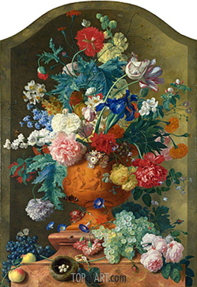 Flowers in a Terracotta Vase, c.1736/37 | Jan van Huysum| Painting Reproduction