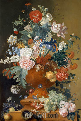 Flowers in a Terracotta Vase, undated | Jan van Huysum | Painting Reproduction