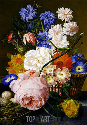Jan van Huysum | Roses, Morning Glory, Narcissi, Aster and Other Flowers in a Basket, 1744