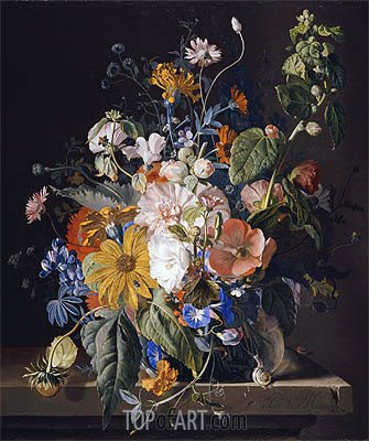 Jan van Huysum | Flowers in a Vase with a Snail on a Ledge, undated