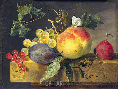 Jan van Huysum | Still Life with Fruit and Butterfly, c.1735