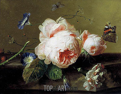 Still Life with Flowers and Butterfly, c.1735 | Jan van Huysum| Painting Reproduction