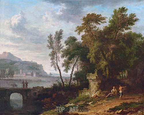 Jan van Huysum | Landscape with Figures, Ruins and Bridge, c.1709/30