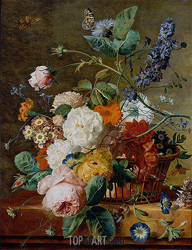 Basket of Flowers with Butterflies, undated | Jan van Huysum| Painting Reproduction