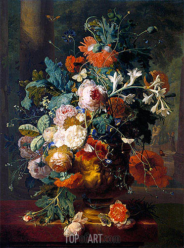 Jan van Huysum | Vase of Flowers in a Park with Statue, undated