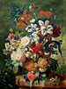 Still Life of Flowers and a Bird's Nest on a Pedestal | Jan van Huysum