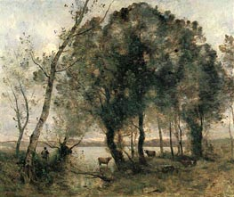 The Lake, 1861 by Corot | Painting Reproduction
