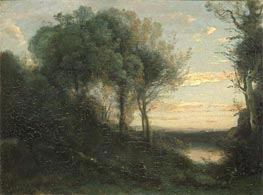 Evening, c.1850/60 by Corot | Painting Reproduction