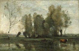 Trees in a Swamp, c.1855/60 by Corot | Painting Reproduction