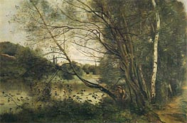Pond at Ville-d'Avray, with Leaning Tree, 1873 by Corot | Painting Reproduction