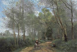Ville d'Avray - Horseman at the Entrance of Forest, 1873 by Corot | Painting Reproduction