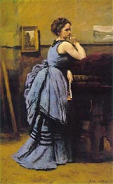Lady in Blue, 1874 von Corot | Gemälde-Reproduktion