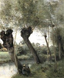 Willows on the Banks of the Scarpe, c.1871/72 von Corot | Gemälde-Reproduktion