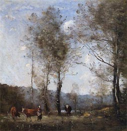 Ville-d'Avrey, Cowherd in a Clearing near a Pond, c.1871/72 by Corot | Painting Reproduction