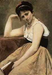 Interrupted Reading, c.1870 by Corot | Painting Reproduction