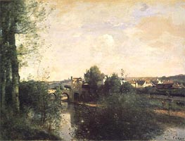 Old Bridge at Limay, on the Seine, c.1870 by Corot | Painting Reproduction