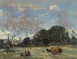 The Return of the Hayers to Marcoussis, c.1870/74 by Corot | Painting Reproduction