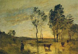 Le Gue - Cows on the Banks of the Gue, c.1870/75 by Corot | Painting Reproduction