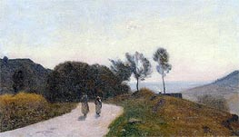 A Road in the Countryside, Near Lake Leman, c.1845/55 by Corot | Painting Reproduction