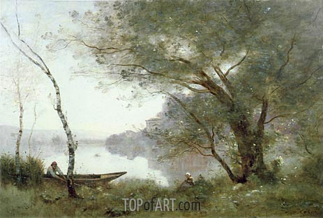 The Boatman of Mortefontaine, c.1865/70 | Corot | Painting Reproduction
