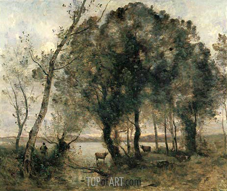 The Lake, 1861 | Corot | Painting Reproduction