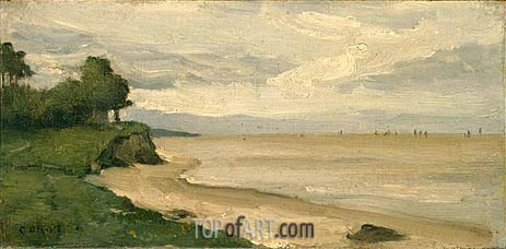 Beach near Etretat, c.1872 | Corot | Painting Reproduction