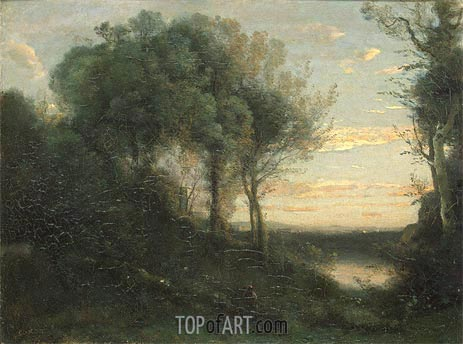 Evening, c.1850/60 | Corot | Painting Reproduction