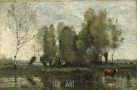 Trees in a Swamp, c.1855/60 | Corot | Gemälde Reproduktion