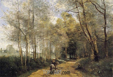 Corot | Ville d'Avray - Horseman at the Entrance of Forest, 1873
