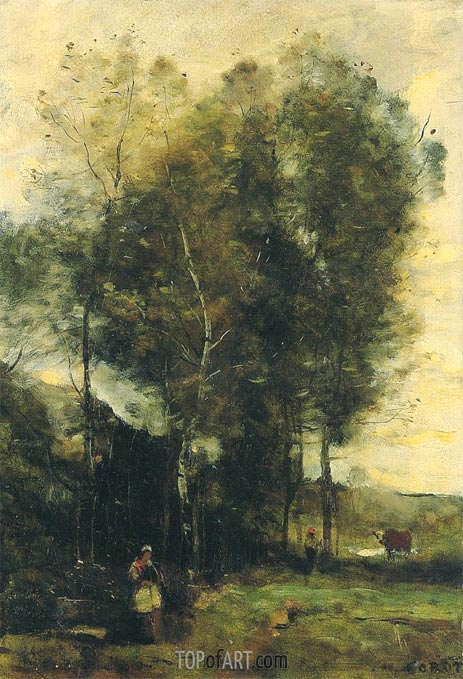 Cowherd in a Dell, Rememberance of Brittany, c.1873 | Corot | Painting Reproduction