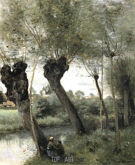 Willows on the Banks of the Scarpe, c.1871/72 | Corot | Painting Reproduction