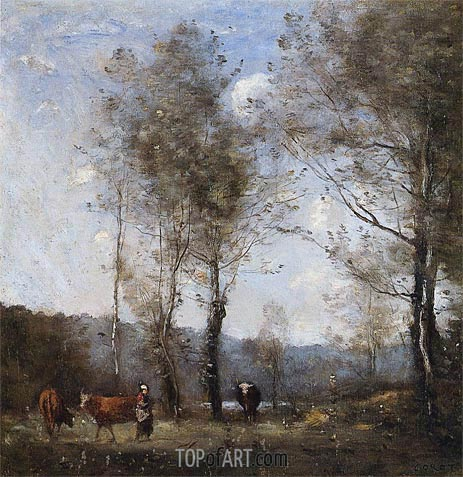 Ville-d'Avrey, Cowherd in a Clearing near a Pond, c.1871/72 | Corot | Gemälde Reproduktion