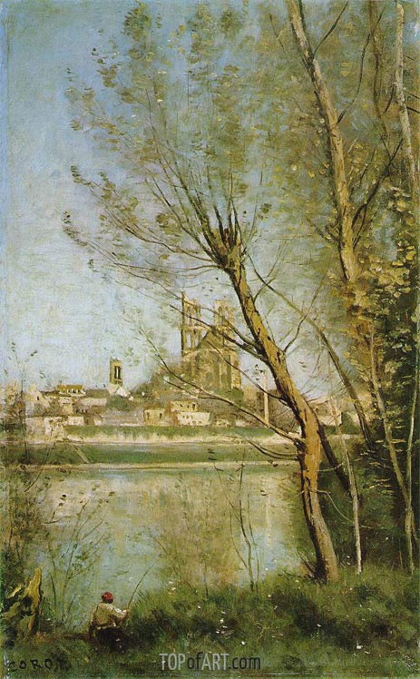 Corot | The Cathedral of Mantes, c.1865/69
