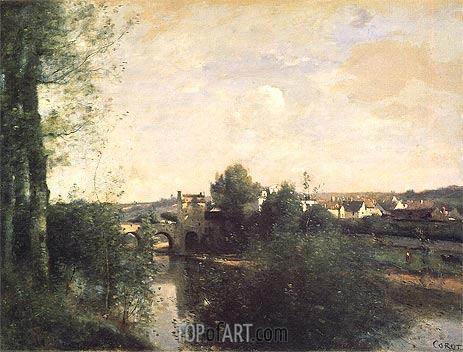 Old Bridge at Limay, on the Seine, c.1870 | Corot | Painting Reproduction