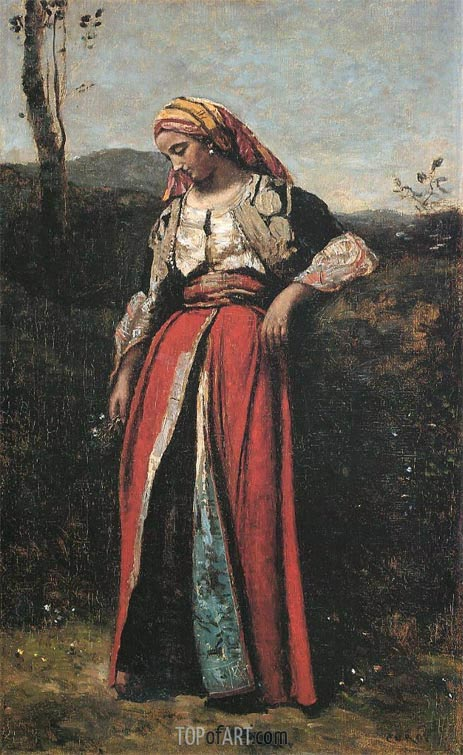Pensive Oriental, c.1870/73 | Corot | Painting Reproduction