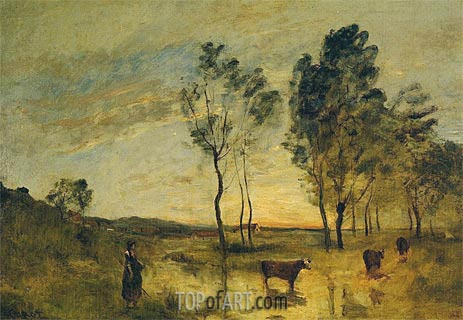 Le Gue - Cows on the Banks of the Gue, c.1870/75 | Corot | Painting Reproduction