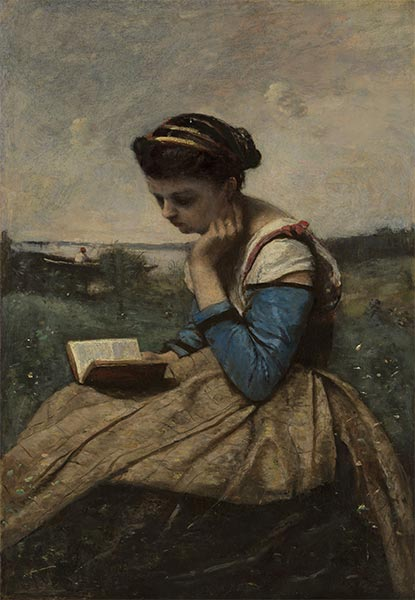A Woman Reading in a Landscape, 1869 | Corot | Gemälde Reproduktion