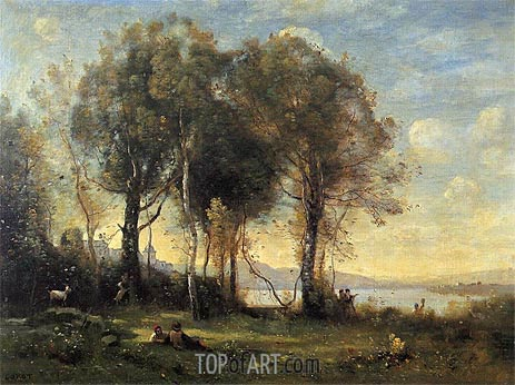 Goatherds on the Borromean Islands, c.1866 | Corot | Painting Reproduction