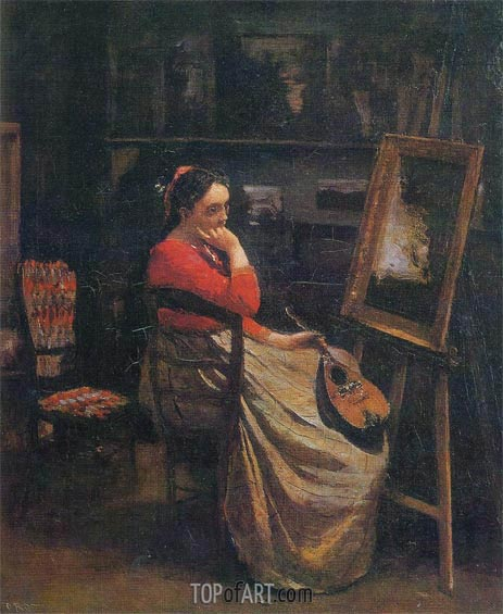 Corot | The Studio - Young Woman with a Mandolin, 1865