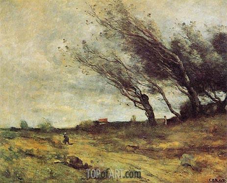 Corot | Windswept Landscape, 1865