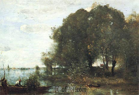 Wooded Peninsula, c.1865/68 | Corot | Painting Reproduction