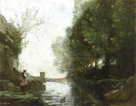 Corot | Le cours d'eau a la tour carree, c.1865/70