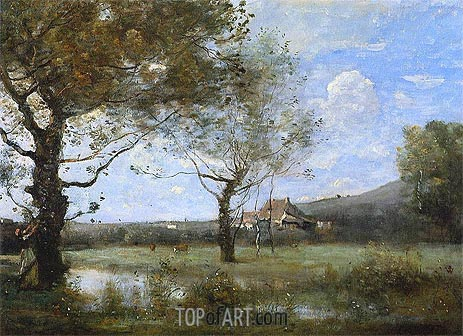 Meadow with Two Large Trees, c.1865/70 | Corot | Painting Reproduction