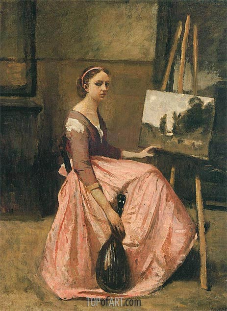 Young Woman in a Red Dress Holding a Mandolin, c.1860 | Corot | Gemälde Reproduktion